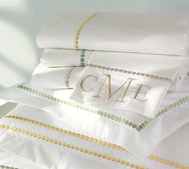 Cotton-pearl embroidered pillowcase and sahm 0