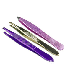Stainless steel eyebrow tweezers Oblique mouth spray paint color eyebrow makeup tools