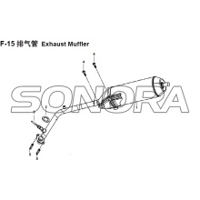 F-15 Exhaust Muffler XS150T-8 CROX For SYM Spare Part Top Quality