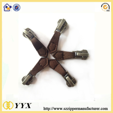 OEM/ODM for Replacement Zipper Tab Thread Sewing Brown PU Leather Zipper Slider supply to United States Manufacturer