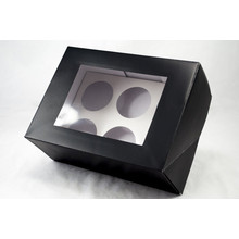 black cardboard cake box with handle