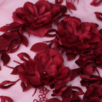 Deep Red 3D Flower Lace Embroidery Fabric
