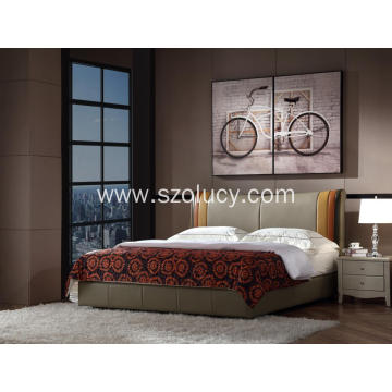 Leading for High Storage Soft Bed Tri-colour Leather Upholstered Bed export to Netherlands Exporter