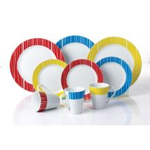 Porcelain plates colorful mugs