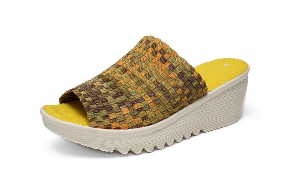 Yellow Woman Woven Slippers
