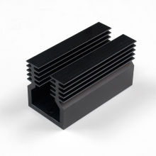 Black extruded aluminum heatsink profile