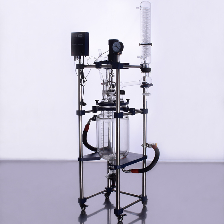 Industrial continous stirring glass reactor 200l