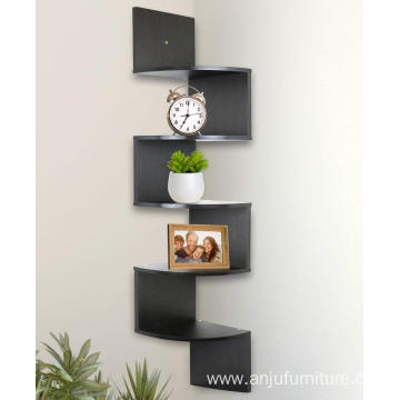 5 Tier Corner Wall Shelf Espresso Finish Floating Shelf Corner Zig Zag Wall Shelf