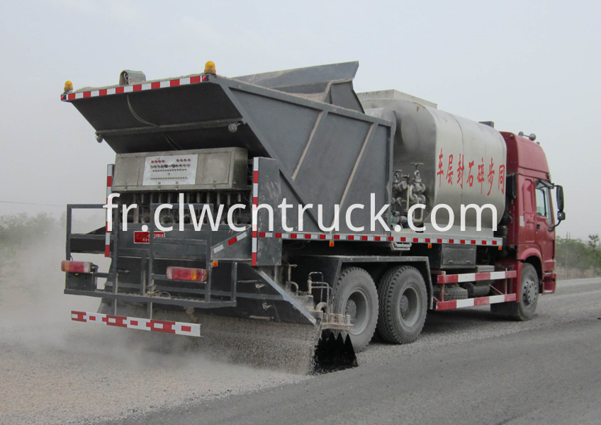 Chip Sealing Tank Truck working