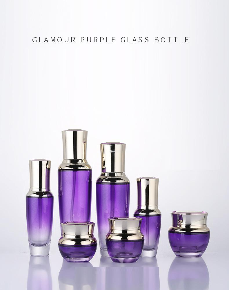 Skin care bottle set of purple glass bottle
