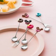 Stainless steel cartoon fruit fork cute coffee spoon