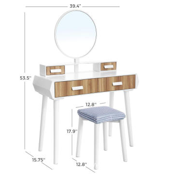 Large big size fasion beautiful dressing table with vantity round mirror