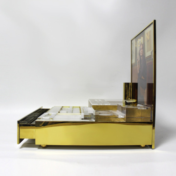 Apex golden acrylic cosmetic display cabinet and showcase