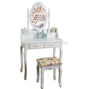 Factory White Wood Mirror Simple Dressing Table Designs With Drawer