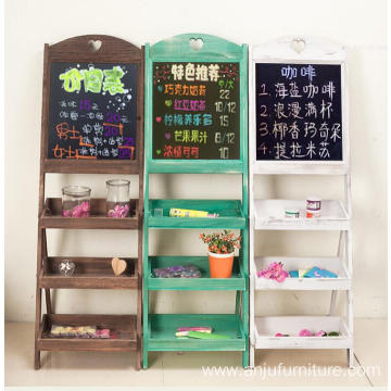 Factory Price for Small Blackboard Stand 3 tiers display shelf blackboard wood rack flower holder with chalkboard supply to Turks and Caicos Islands Wholesale