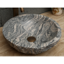 Factory source for White Marble Sink Juparana multicolor round granite sink supply to Indonesia Manufacturer