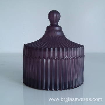OEM/ODM for Chocolate Jars Frosted color ridged glass jars export to South Korea Manufacturer