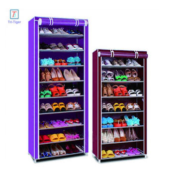 9-Tier Portable Shoe Rack Closet Organizer 27-Pair Shoe Storage Cabinet Shelf with Fabric Cover