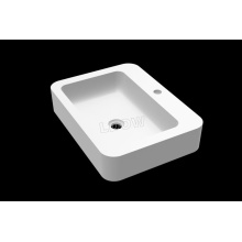 Counter top basin WB0027 of Solid Stone-Matte white-578x433x114mm