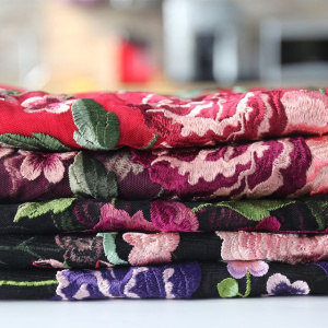 Colorful Inflorescence Embroidery On Nylon Mesh Fabric