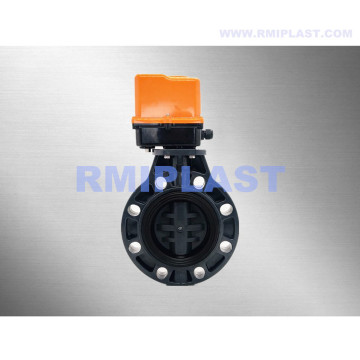 UPVC Electric Butterfly Valve AC220V DC24V