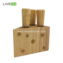 Rubber Wood Block Cheese Knife Set