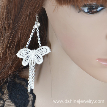 White Sexy Butterfly Lace Earring Long Chain Tassel Earrings