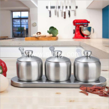 304 Stainless Steel Seasoning Jar Three-piece Set