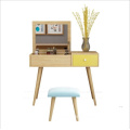 Simple Yellow Solid Wooden Dressing Table with Mirror