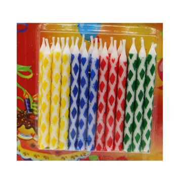 Assorted color striped birthday candles