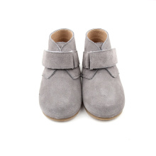 Grey Suede Leather Baby Kids Shoes Boots