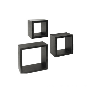 Set of 3 Floating Cube Shelves Espresso Finish