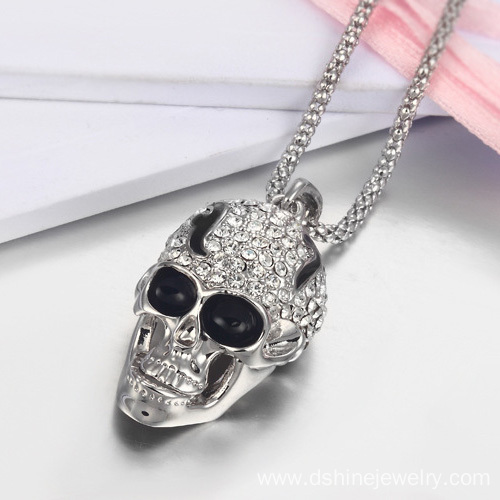 Retro Rhinestone Alloy Skull Necklace Jewelry Accessories