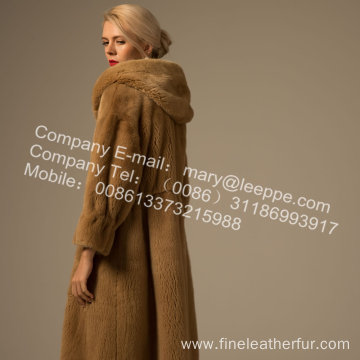 Women Reversible Winter Mink Fur Overcoat Mink
