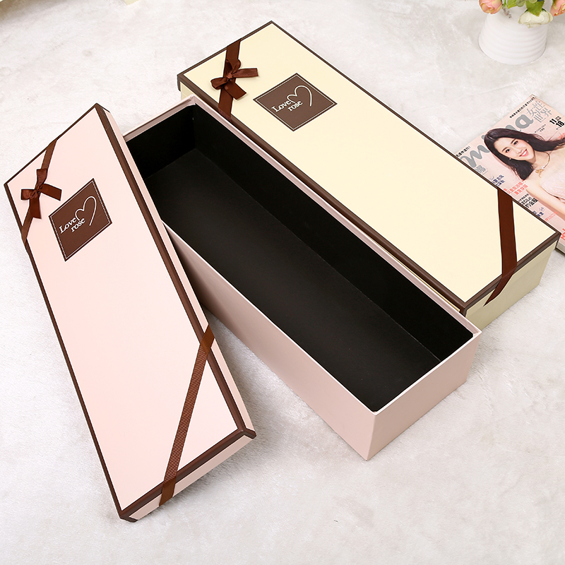Rectangle Rose Flower Box with Ribbon