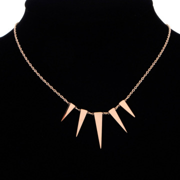 Womens Simple Rose Gold Geometric Pendant Necklace