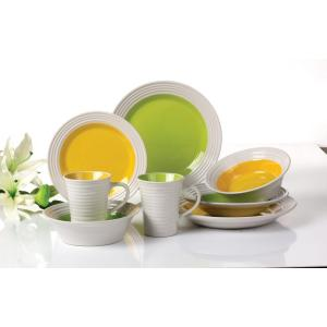 Embossed 2-tone color stoneware plates dinner set