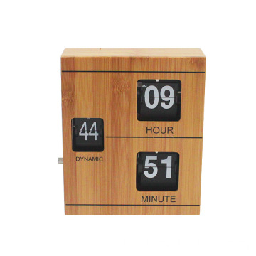 Bamboo flip clock with book shape