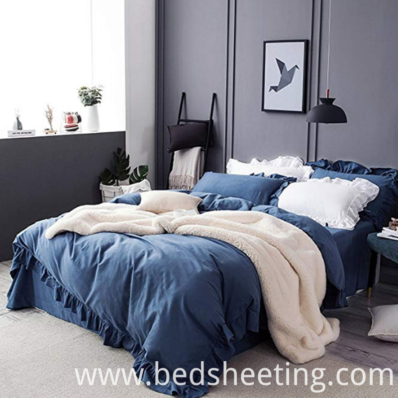 Cotton Navy Ruffles Design Duvet Cover