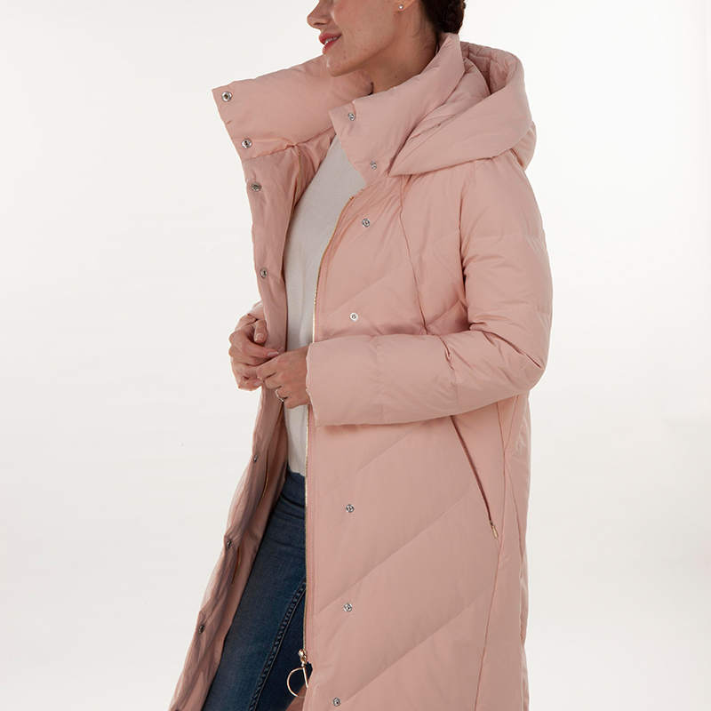 Fashionable pink stand collar down jacket