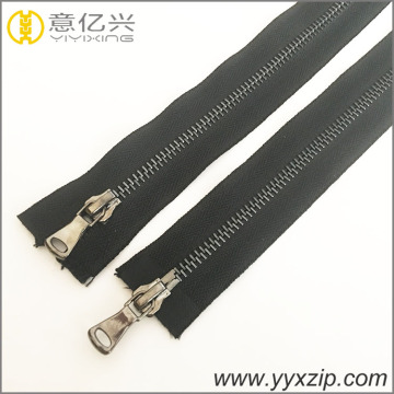 fashion double way leather sliders gun metal zipper