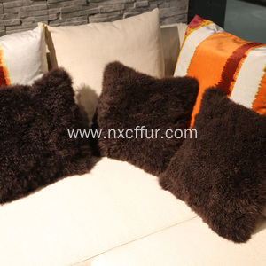 Supplier for Tibetan Lamb Fur Cushion Top quality handmade skin genuine wool lamb cushion supply to Kyrgyzstan Wholesale