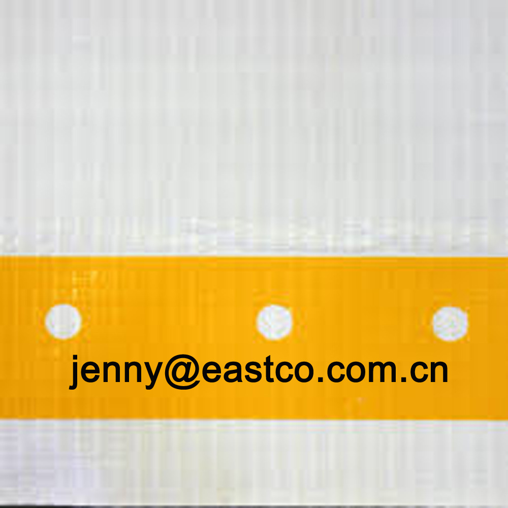 Clear Leno Mesh Tarpaulin Scaffold Cover reinforced with Yellow Eyelet Holes Webbing Band