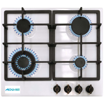 4 Burner Gas Stove White Built-In Hob