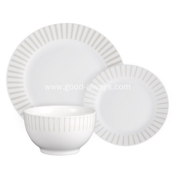 18 Piece Round Porcelain Dinner Set with decal