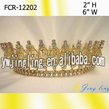 Gold Pageant Crowns Round Queen Tiaras