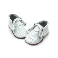 Genuine Leather Hole White Moccasin Baby Shoes
