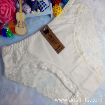OEM wholesale new style light yellow sexy comfortable lace cotton fancy underwear 807