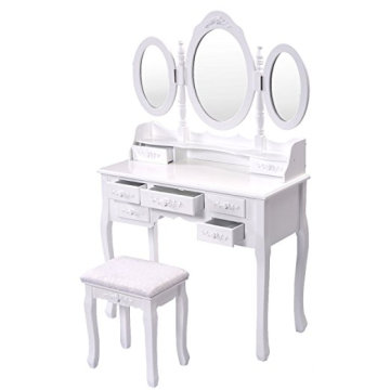 Cheap wholesale MDF 7 Drawer wood Tri Folding Mirror Make up Dresser Table