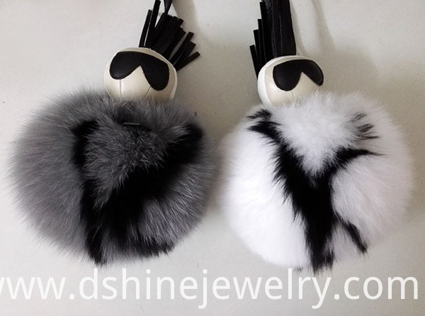 Fur Ball Keychain With Word Pom Pendant